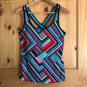 Xersion colorful cross back active tank top Sz M